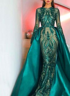 modabelle Green Sequin Long Sleeve Evening Dresses Muslim 2018 With Detachable Train Bling Moroccan Kaftan Formal Gowns Party. Long Sleeve Evening Gowns, Long Sleeve Gown, Prom Dresses Long With Sleeves, Prom Dresses 2018, Mermaid Prom Dresses, Formal Dresses, Formal Prom, Elegant Evening Gowns, Maxi Dresses