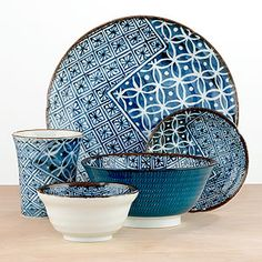 These incredible dinnerware sets of plates, bowls, and cups are perfect for dinners. The deep indigo and intricate pattern...plus the fact that they are extremely sturdy and won't chip very easily make me want to buy these immediately.