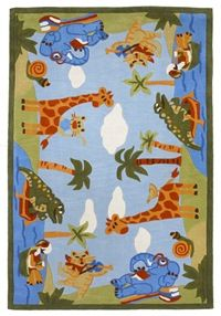 KAS Kolorful Kidz  4110 Blue Animal Fun area #rugs - This can be purchased at BoldRugs.com