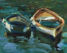 "Daily Paintworks - ""Cinque Cozy Boats"" - Original Fine Art for Sale - © Patti McNutt"