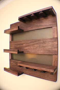 Rustic Dark Cherry Stained Wall Mounted Wine door TheKnottyShelf