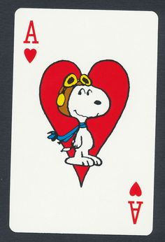 Snoopy playing card single swap ace of hearts - 1 card