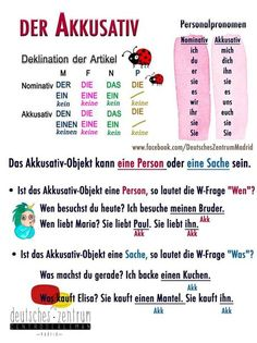 German Language Course, German Language Learning, Language Study, Study German, Learn German, Learn French, German Grammar, German Words, Akkusativ Deutsch