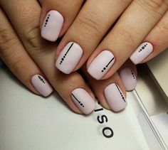 Try some of these designs and give your nails a quick makeover, gallery of unique nail art designs for any season. The best images and creative ideas for your nails. Nude Nails, Acrylic Nails, Black Nails, Hair And Nails, My Nails, Sqaure Nails, Nail Art Stripes, Nails With Stripes, Dot Nail Art