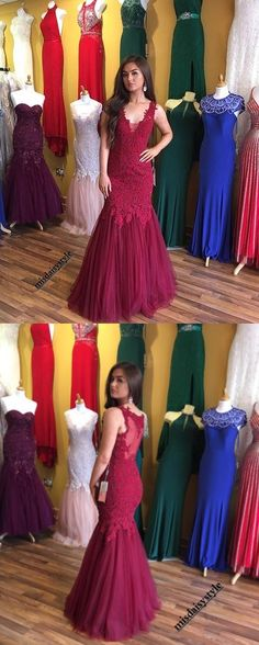 Charming Prom Dress Sleeveless Appliques Prom Dress Tulle Mermaid Evening Dress Formal Dress #burgundypromdresses #mermaidpromdresses  #prom #dresses #longpromdress #promdress #eveningdress #promdresses #partydresses