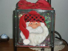 Hand painted by Sherry. Glass Block that lights up inside.