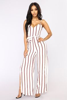 1d3cbdaec7ee Olivia Striped Jumpsuit - Ivory Stripe