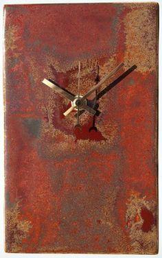 Pottery Clocks   Reds Rectangular Pottery Clock. Height 20cm (8 inches) - ART CLOCKS ...