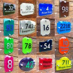 Door Numbers, House Numbers, Windsor, Wooden Front Door Design, Acrylic Plaques, Name Plates For Home, Pylon Sign, House Number Plaque, Outdoor Signage