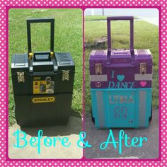 Travel case for pageants and dance competitions. Re - purposed tool box.