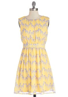 Styled and Free Dress in Yellow - Woven, Mid-length, Yellow, Purple, Print with Animals, Casual, Quirky, A-line, Sleeveless, Good, Scoop, Va...
