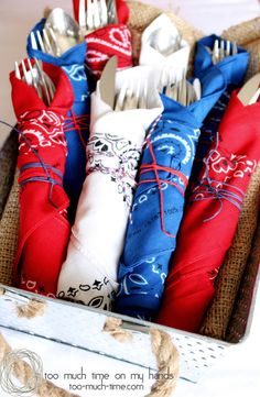 Bandana Napkins add a patriotic touch to your table - great for of July or Memorial Day. (Plus other great party ideas! Fourth Of July Decor, 4th Of July Celebration, 4th Of July Decorations, 4th Of July Party, 4th Of July Ideas, Table Decorations, Centerpieces, Memorial Day Decorations, Americana Decorations