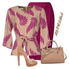 A fashion look from February 2017 featuring pink blouse, pencil skirts and christian louboutin shoes. Browse and shop related looks. Church Fashion, Work Fashion, Modest Fashion, Fashion Dresses, Fashion Beauty, Classy Outfits, Stylish Outfits, Cute Outfits, American Casual