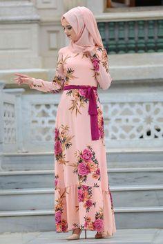 NEVASTYLE - Daily Dress - Flower Patterned Powder Pink Dress - 7811SMN Muslim Women Fashion, Islamic Fashion, Stylish Hijab, Stylish Dresses, Hijab Fashion, Fashion Outfits, Fashion Muslimah, Muslimah Clothing, Hijab Style Dress