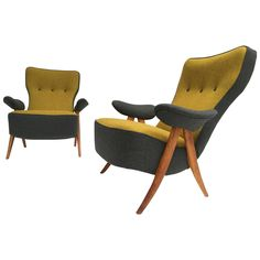 Stunning pair of 1950's Theo Ruth Model 105 'Hair Pin' Easy Chairs for Artifort  | From a unique collection of antique and modern lounge chairs at https://www.1stdibs.com/furniture/seating/lounge-chairs/