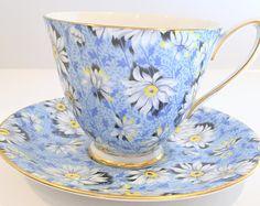 Daisy Chintz Shelley Tea Cup and Saucer, Carlisle Shape, Chintz Tea Cups, English Cups, Antique Tea Cups, Daisy Cups, Shelley China Cups