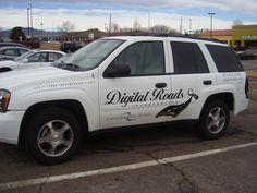 #vehiclegraphics #vehiclewraps #vehiclelettering #installationservices #vehiclegraphicsdesigns #SignaramaColorado #Signs #colorado Cut black vinyl lettering for Digital Roads