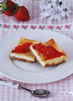 Cuadrados de tarta de queso. Receta de postre