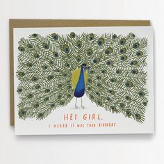 Hey, Girl Peacock Birthday Card Funny Birthday Card by Emily McDowell 138-C