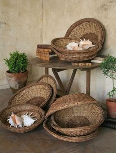 I have made baskets for shells and baskets with shells.  My house echoes this pairing.