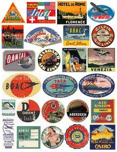 25 Travel Luggage Stickers Clipart Retro Digital by graficaitalia Luggage Stickers, Luggage Labels, Suitcase Stickers, Vintage Hotels, Vintage Travel, Vintage Suitcases, Vintage Luggage, Clip Art, Destination Voyage