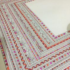 Image may contain: indoor Diy Painting, Traditional Art, Indian Art Paintings, Madhubani Art, Doodle Art, Fabric Painting, Boho Art Drawings, Madhubani Painting, Boho Art