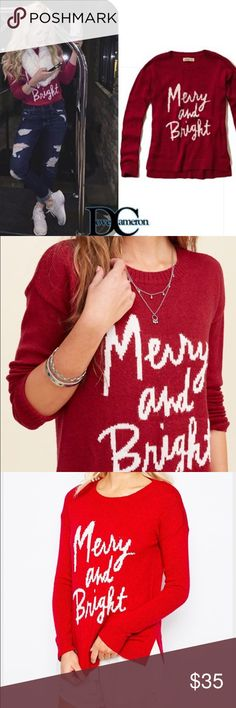 Hollister Merry & Bright Red Sweater Red sweater, perfect for the holidays! Size small 😘 worn once. Hollister Sweaters Crew & Scoop Necks