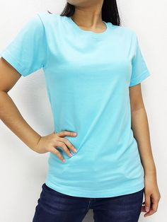 CTS38 100% Cotton T Shirt Crew Neck V Neck Long Sleeves Solid Light Blue