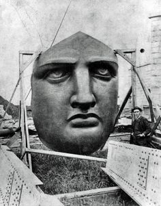 Lady Liberty's face is seen here on Liberty Island, waiting to be installed: 1886, New York, NYC, USA