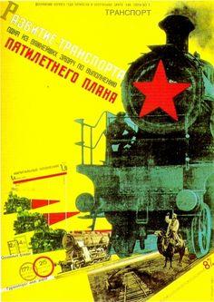 Klutsis - Affiche 5e plan pour le transport - 1929