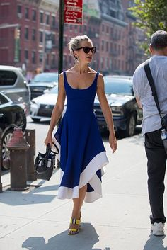 Blue day dress style idea  | For more style inspiration visit 40plusstyle.com