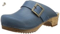Sanita Womens Wood Urban Clog Open Blue Oil Leather - 36 - Sanita mules and clogs for women (*Amazon Partner-Link)