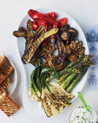 Spicy Jerk Vegetables with Yogurt-Scallion Sauce Recipe on Food & Wine