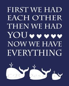 Navy Blue and White Whale Nursery Quote Print - 8x10. $8.00, via Etsy.