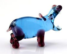 Blown Glass Hippo Figurine, Russian Art Handmade Sculpture Miniature