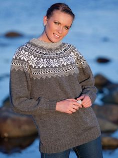Genser med rund sal - Viking of Norway Etnic Pattern, Sweater Cardigan, Men Sweater, Fair Isle Knitting, Periwinkle, Clothing Patterns, Vikings, Norway, Knitting Patterns