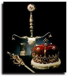 Scottish royal jewels - Crown of Scotland, made for James V in 1540. The sceptre was a gift from Pope Alexander VI to James IV in 1494 and the sword was a gift from Pope Julius II  to James in 1507.