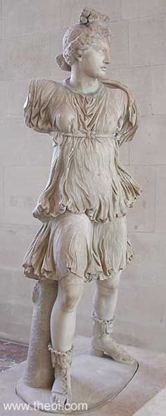 """salomi: """"Statue of Artemis Artemis of the Rospigliosi type. Marble, Roman artwork of the Imperial Era, centuries AD. Copy of a Greek original, maybe the bronze group mentioned by Pausanias,. Ancient Rome, Ancient Art, Ancient History, Roman Sculpture, Art Sculpture, Roman History, Art History, Hellenistic Art, Art Romain"""