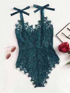 Compare Discount COLROVIE Ribbon Floral Lace Bodysuit Bow Tie Shoulder Women Green Cute Summer Bodysuits 2017 Sexy See Though Elegant Bodysuit Body Lingerie, Lingerie Bonita, Lingerie Fine, Jolie Lingerie, Lingerie Outfits, Satin Lingerie, Pretty Lingerie, Beautiful Lingerie, Women Lingerie