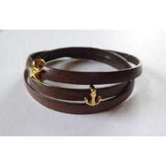 Wickel-Armband aus Leder, schmal, gold