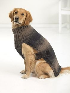 Sweaters for BIG dogs! Hunter's Urban Dog Sweater with 1 - 2 balls of beautiful ombré Scarfie yarn [BULKY?] and size 9 mm) knitting needles. :: I particularly like the ribbing at chest and collar. Large Dog Coats, Large Dog Sweaters, Pet Sweaters, Large Dogs, Knitted Dog Sweater Pattern, Dog Coat Pattern, Knit Dog Sweater, Sweater Patterns, Knitting Patterns Free Dog