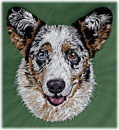 Detailed design documentation - colors, thread consumption, etc. Dog Pattern, Pattern Design, Cardigan Welsh Corgi, Blue Merle, Dog Design, Embroidery, Dogs, Patterns, Color
