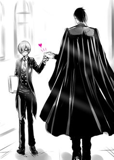 Kuroshitsuji- Is this a pairing one? Or is it a heart because they are there as spies? Black Butler Sebastian, Black Butler Ciel, Black Butler Kuroshitsuji, Black Butler Comics, Weston College, Ciel E, Kero Sakura, Black Butler Funny, Animes Online