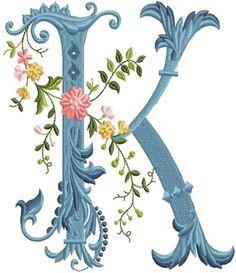 alfabeto celeste con flores K