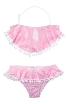f9bd0ffe03a54 Stella Cove Feather Print Two-Piece Swimsuit (Big Girls) Bathing Suits, Pink