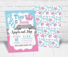 Ties or Tiaras Gender Reveal Party Invitation Personalized Invitations, Printable Invitations, Ties Or Tutus, Quick Print, Gender Reveal Party Invitations, Reveal Parties, Baby Ideas, Rsvp