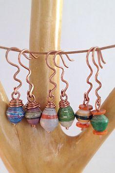 Copper Dangle Zigzag Paper Bead Earrings Reclaimed by SilkGown, $19.00