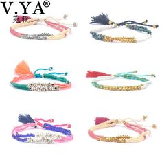 Colorful Bracelets Bohemian Style Friendship Boho Bracelets Bangles for Woman Gifts Women Sandy Beach Tassel Bracelet