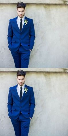 High Quality Royal Blue Mens Suits Groom men Tuxedos Groomsmen Wedding Party Dinner Best Man Suit 2017 (Jacket+Pants+Tie)