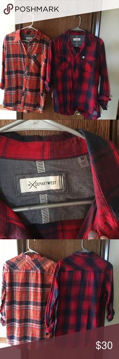 Men's Flannel shirts (2 for 1) Orange and red flannels from DepartWest. Both gently warm and size M departwest Shirts Casual Button Down Shirts